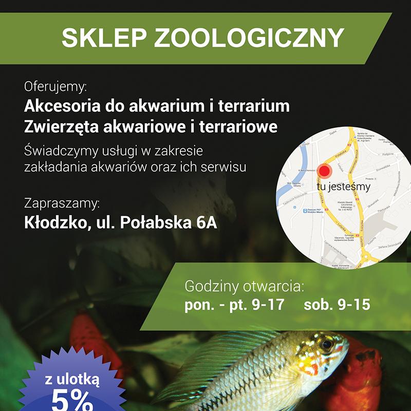 Projekt ulotki sklepu zoologicznego