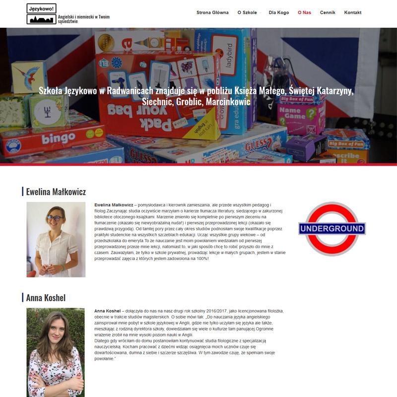 Wdrożenie strony internetowej szkoły językowej na gotowym szablonie
