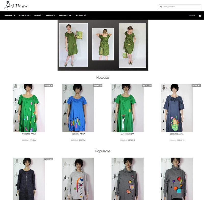 realizacja sklepu internetowego zrzut ekranu