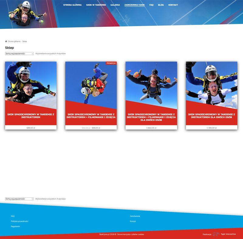 wdrożenie sklepu internetowego ze skokami spadochronowymi